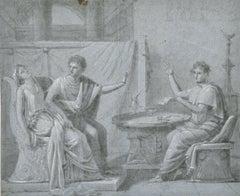 FINE 18th CENTURY OLD MASTER CHALK DRAWING - ROMANESQUE FIGURES INTERIOR SCENE