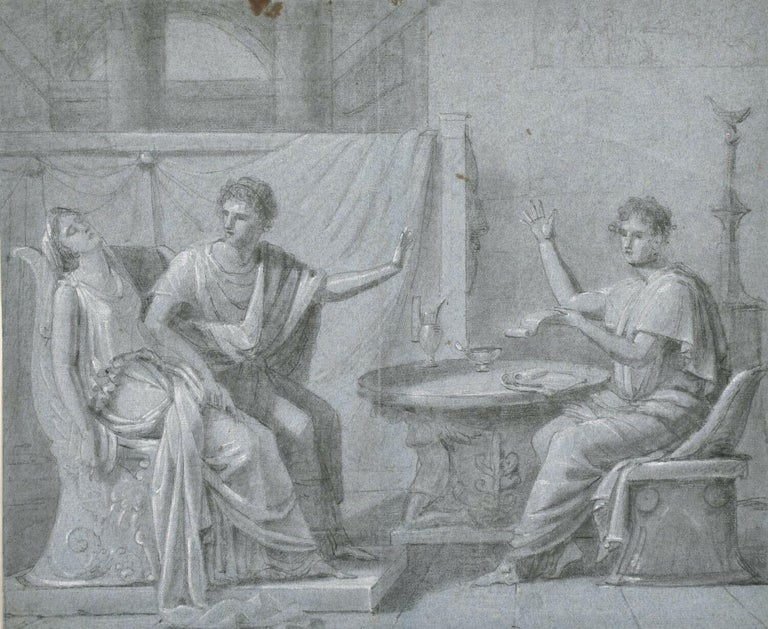 French Old Master Figurative Painting - FINE 18th CENTURY OLD MASTER CHALK DRAWING - ROMANESQUE FIGURES INTERIOR SCENE