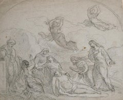 FINE 18th CENTURY OLD MASTER CHARCOAL DRAWING - THE LAMENTATION OF CHRIST
