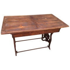 French Old Metal Machine Base and Wood Top Table, 1950s