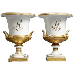 French Old Pairs Gilt Porcelain Classical Urns with Grecian Masks, circa 1880