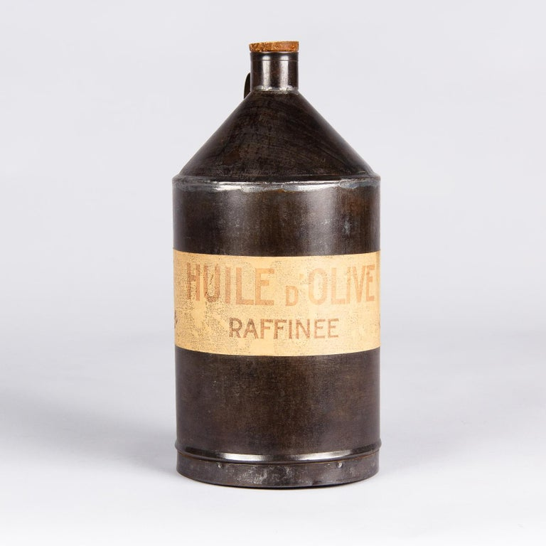 French Provincial French Olive Oil Metal Can, 1920s For Sale