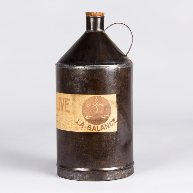 French Olive Oil Metal Can, 1920s In Good Condition For Sale In Austin, TX