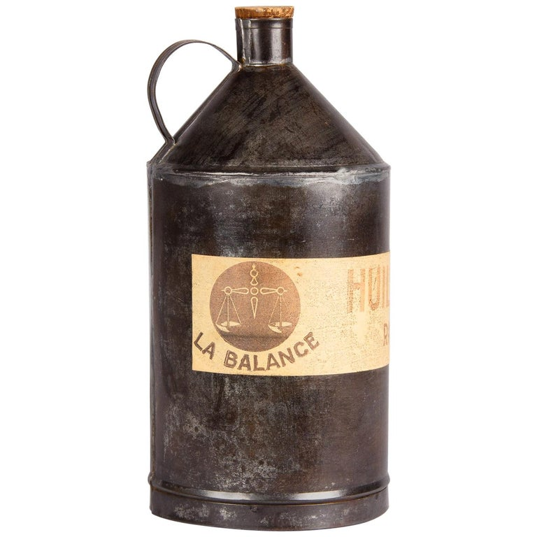 French Olive Oil Metal Can, 1920s For Sale