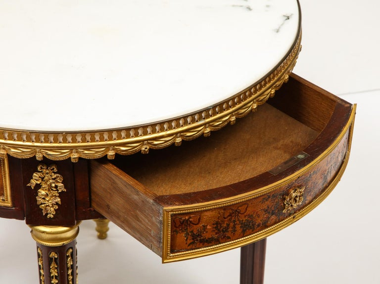 French Ormolu and Vernis Martin Low Table Gueridon with Marble Top, circa 1880 For Sale 4
