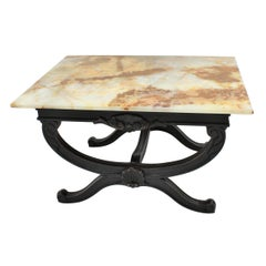 French Onyx and Wood Coffee Table