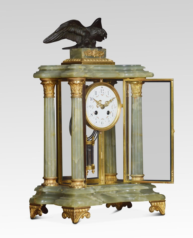 French Onyx Four Glass Clock Set In Good Condition For Sale In Cheshire, GB