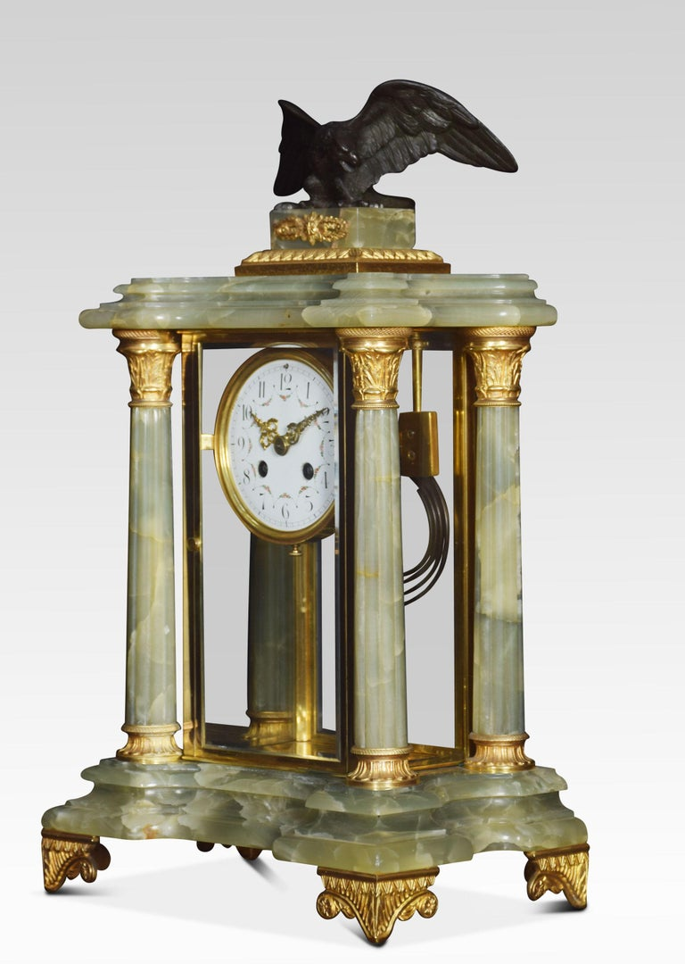 French Onyx Four Glass Clock Set For Sale 1