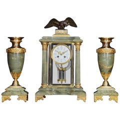 French Onyx Four Glass Clock Set