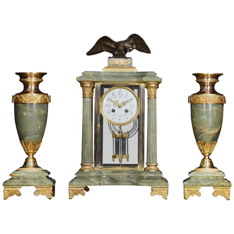 French Onyx Four Glass Clock Set For Sale