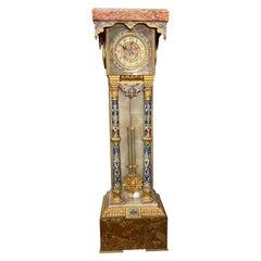 French Onyx, Marble, Gilt Bronze & Champlevé Enamel Islamic Style Pedestal Clock