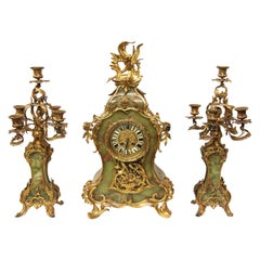French Onyx Serpentine Clock Set