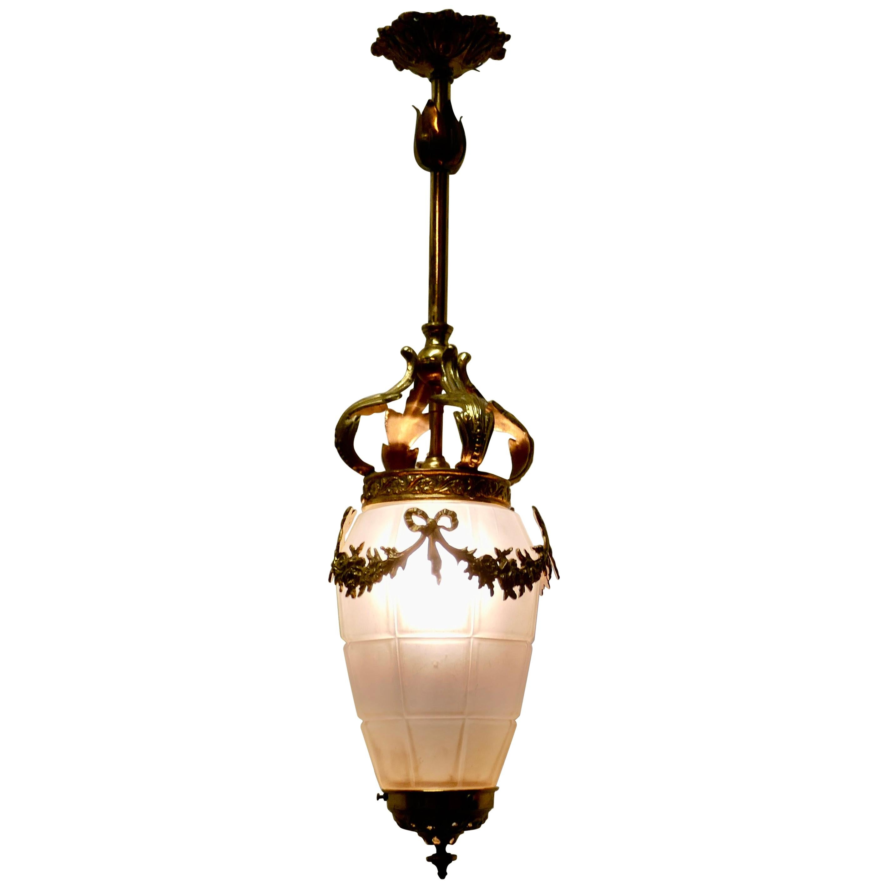 French Opalescent Glass and Brass Hanging Pendant Light