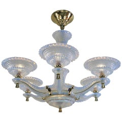 French Opalescent Glass Art Deco Chandelier