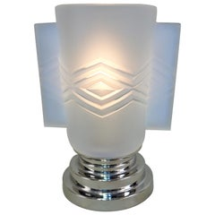 French Opalescent Glass Art Deco Table Lamp