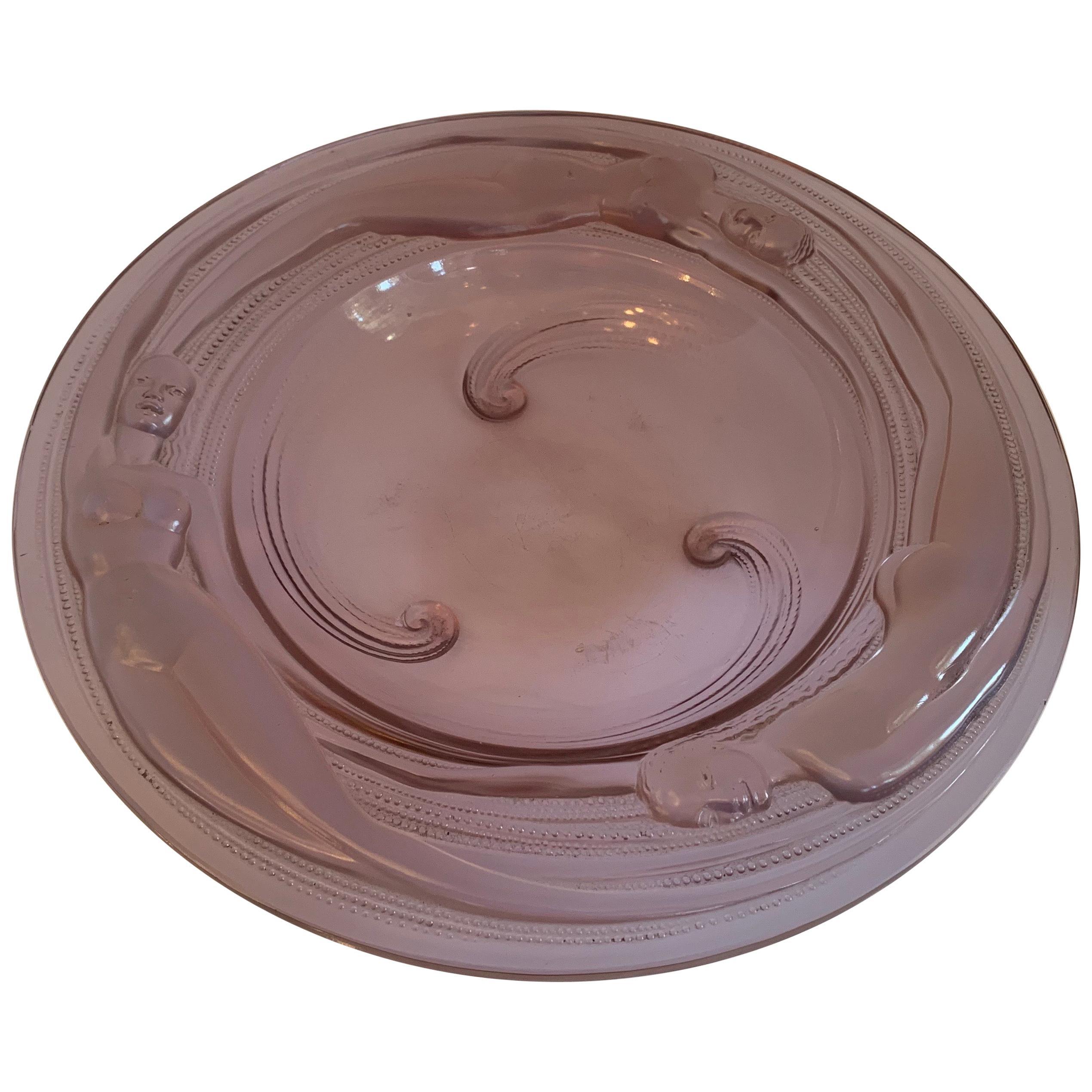 French Opalescent VERLYS NAÏADES Three Nude Female Art Glass Centerpiece Bowl