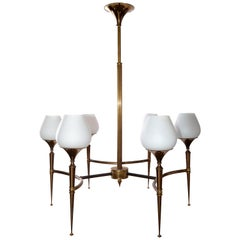 French Opaline and Two-Tone Gold Patina Chandelier Maison Jansen, 1955