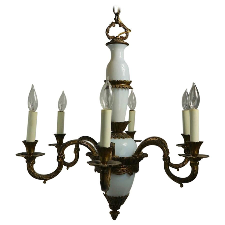 French Opaline Glass and Cast Brass Chandelier