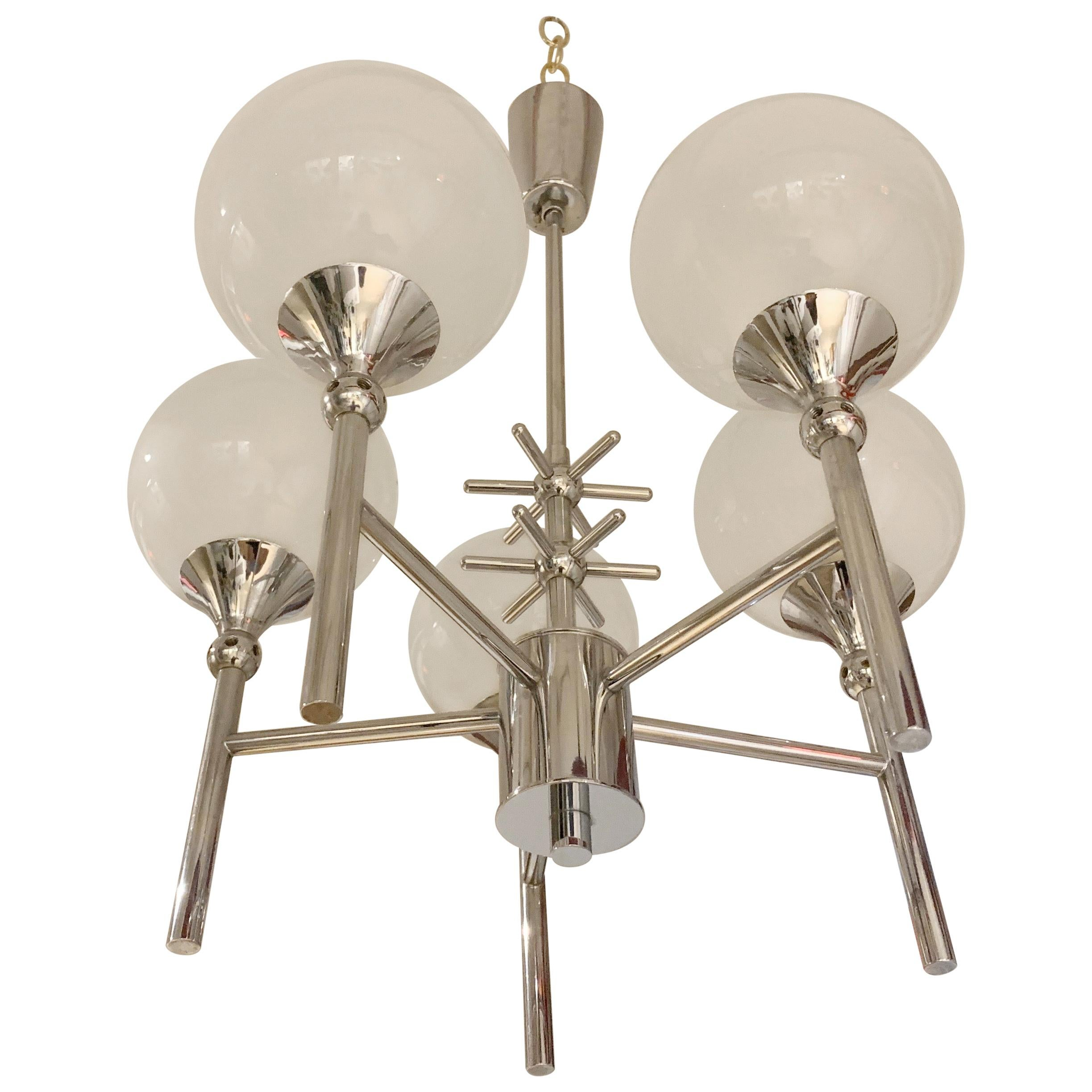 French Opaline Whimsical 1970s 5-Light Pendants