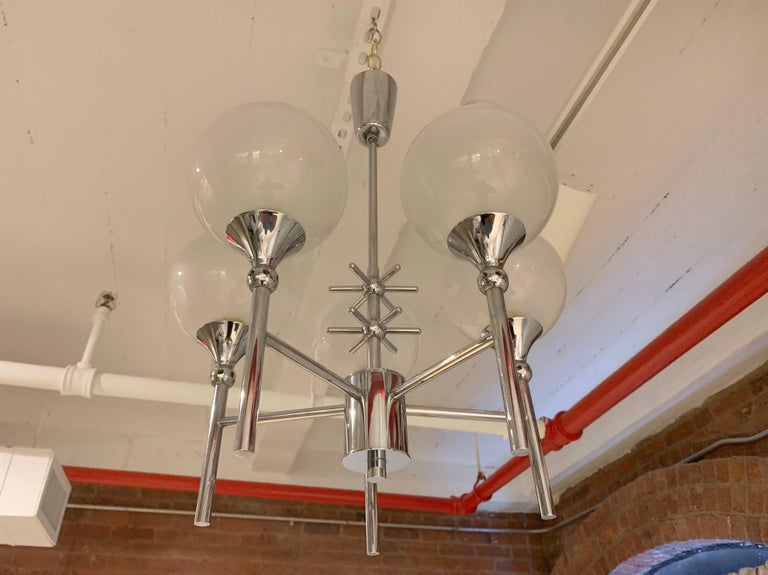 French Opaline Whimsical 1970s 5-Light Pendants For Sale 4