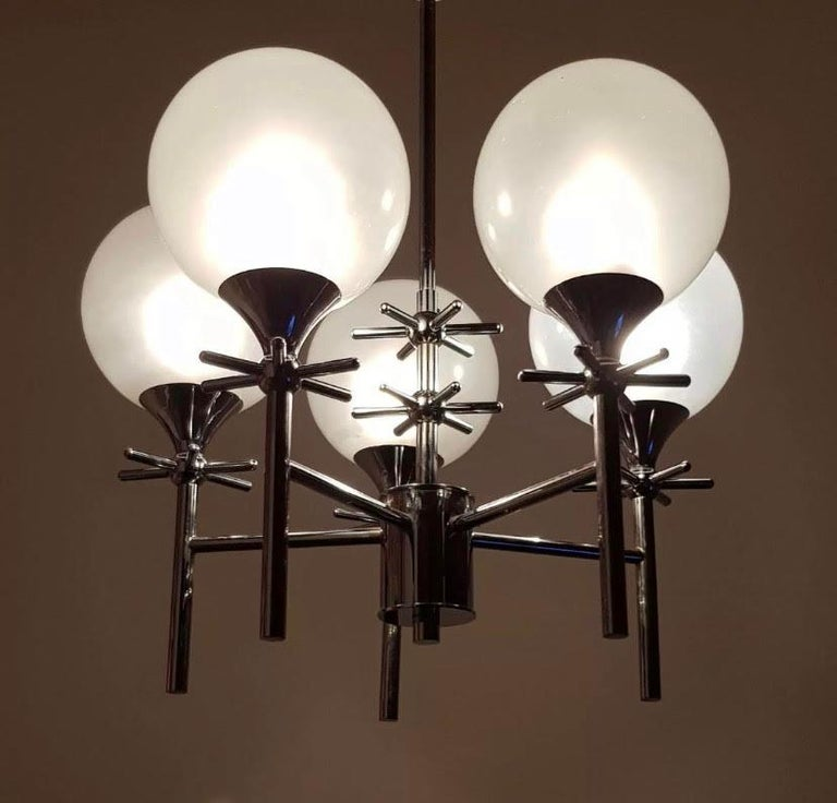 French Opaline Whimsical 1970s 5-Light Pendants For Sale 12