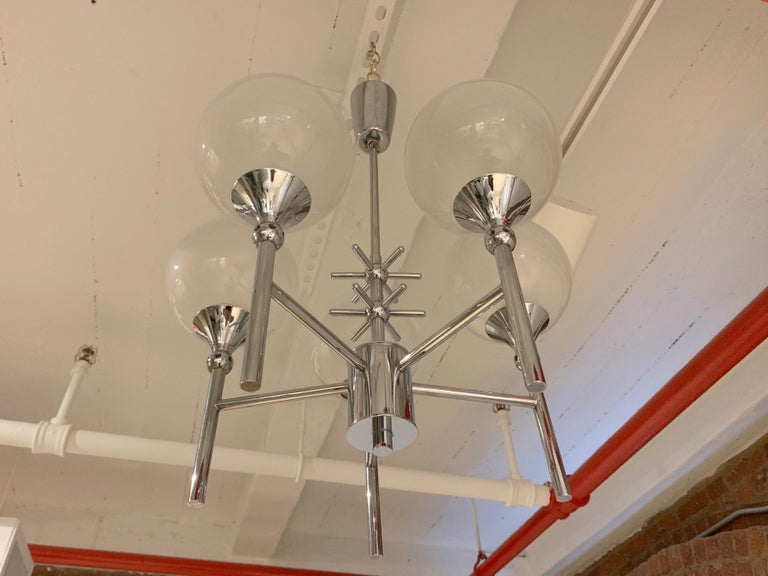 French Opaline Whimsical 1970s 5-Light Pendants For Sale 3