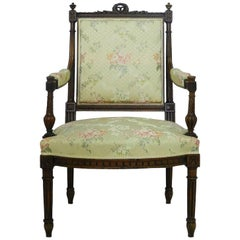 French Open Armchair 19th Century Louis Provincial Walnut Fauteuil