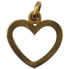 French Open Heart 18 Karat Yellow Gold Charm Pendant
