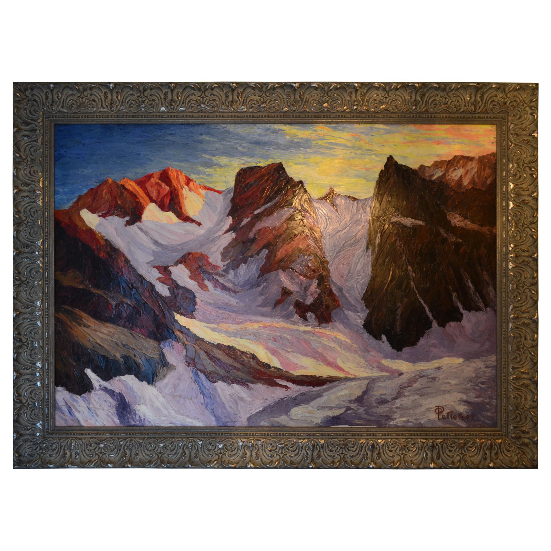 French or Swiss Mid-Century Modern Alpine scene by Pelletier