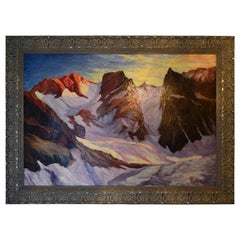 French or Swiss Mid-Century Modern Alpine scene by Pelletier