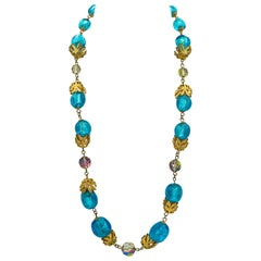 French Organic Blue Glass Bead and Crystal Gilt Leaf Necklace
