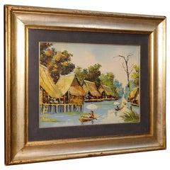 French Oriental Landscape Oil Painting on Canvas, 20th Century
