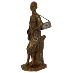 """French Orientalism Antique Bronze Sculpture """"Décrotteur Arabe"""" by Edouard Drouot"""