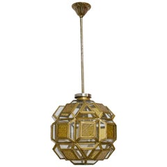 French Orientalist Brass and Glass Pendant Light Chandelier with Facets, c. 1960