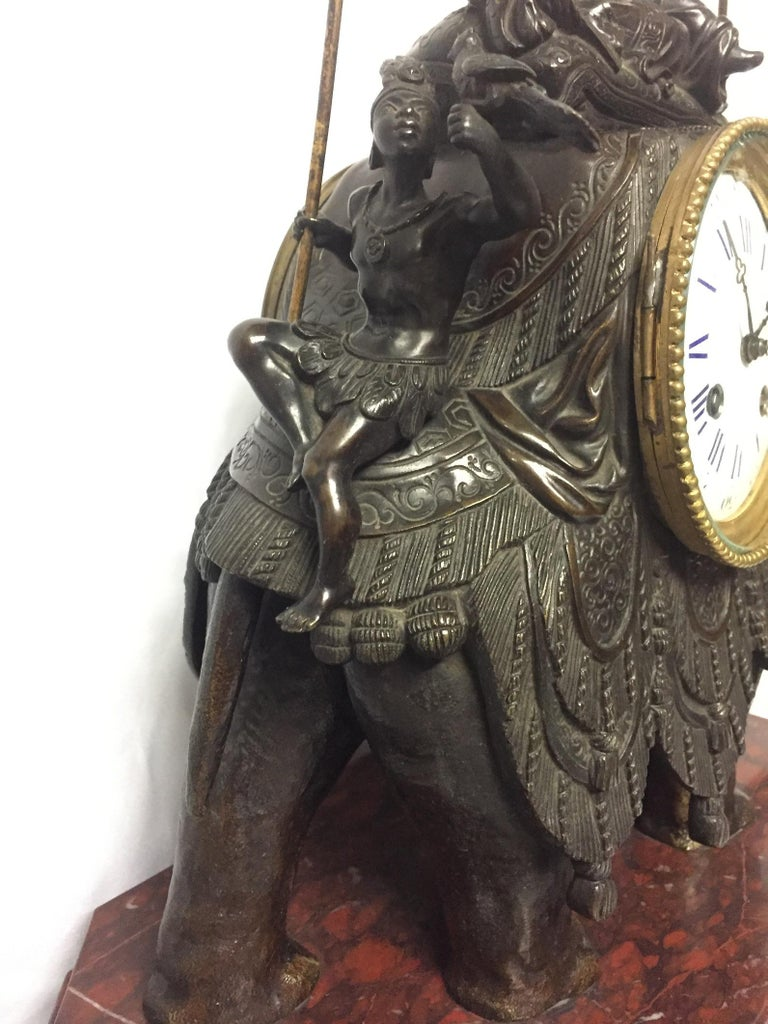French Orientalist Elephant Clock, 19th Century For Sale 5