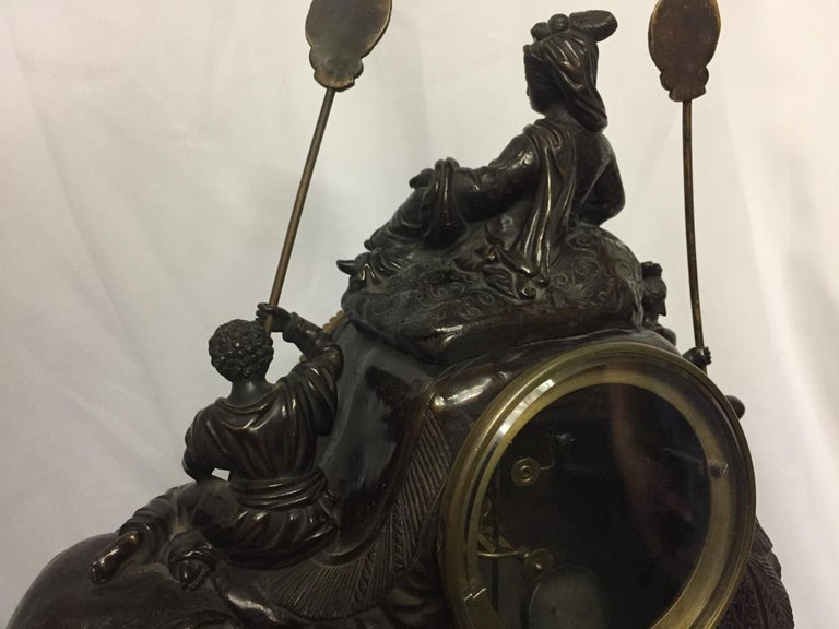 French Orientalist Elephant Clock, 19th Century For Sale 6