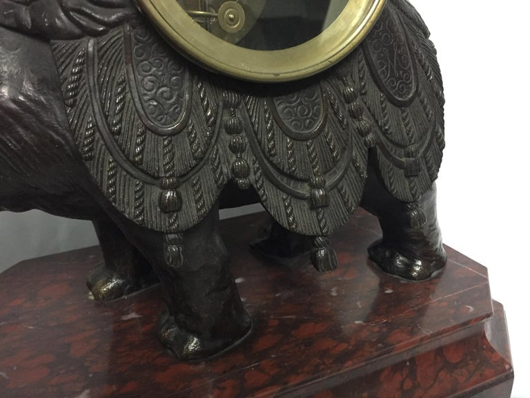 French Orientalist Elephant Clock, 19th Century For Sale 7