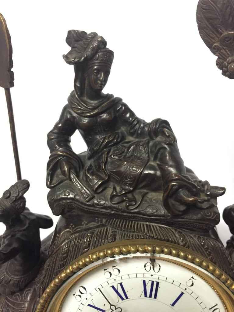 Hand-Carved French Orientalist Elephant Clock, 19th Century For Sale
