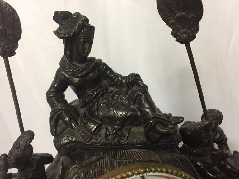 French Orientalist Elephant Clock, 19th Century In Good Condition For Sale In Cypress, CA