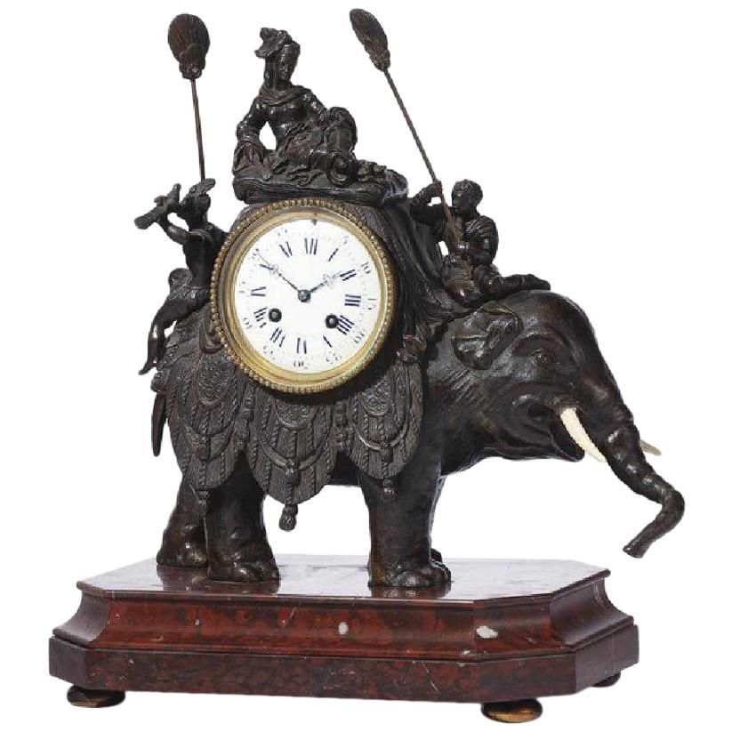 French Orientalist Elephant Clock, 19th Century