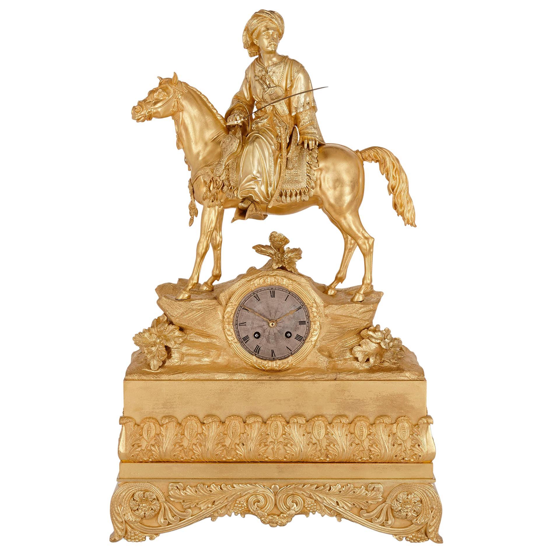 French Orientalist Gilt Bronze Equestrian Mantel Clock