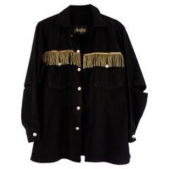 French Original Bullion Fringe Jacket Black Silver Buttons Oversize J Dauphin
