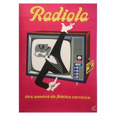 French Original Mid-Century Advertising Poster, 'Radiola' Designed by Rene Ravo