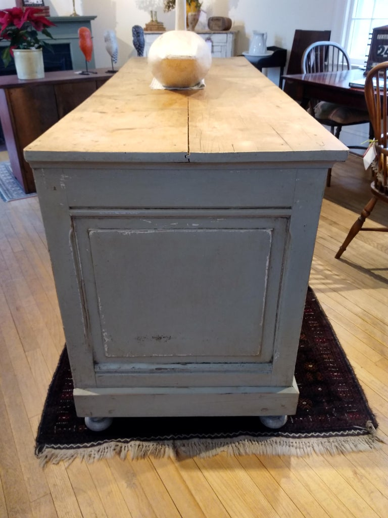 19th Century French Original Painted Store Counter For Sale