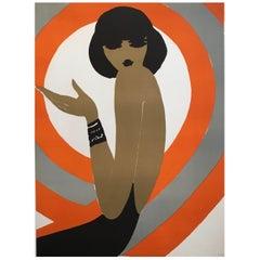 French Original Vintage Fashion Poster by Villemot 'Spirale Orange 1970'