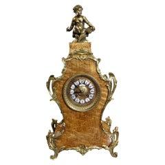 French Ormolu and Birds Eye Maple Boulle Clock
