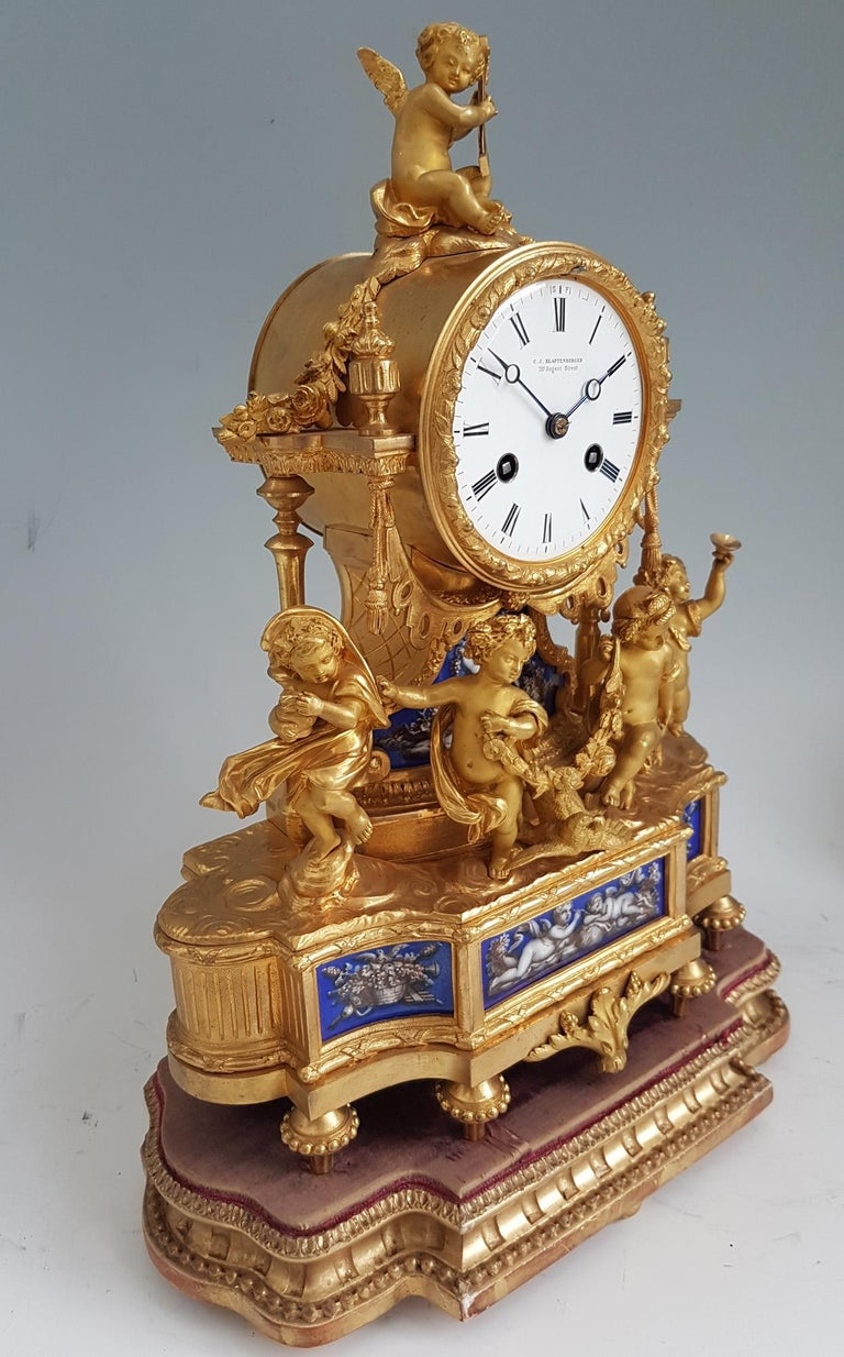 French Ormolu and Blue Porcelain Four Seasons Mantel Clock In Good Condition For Sale In London, GB