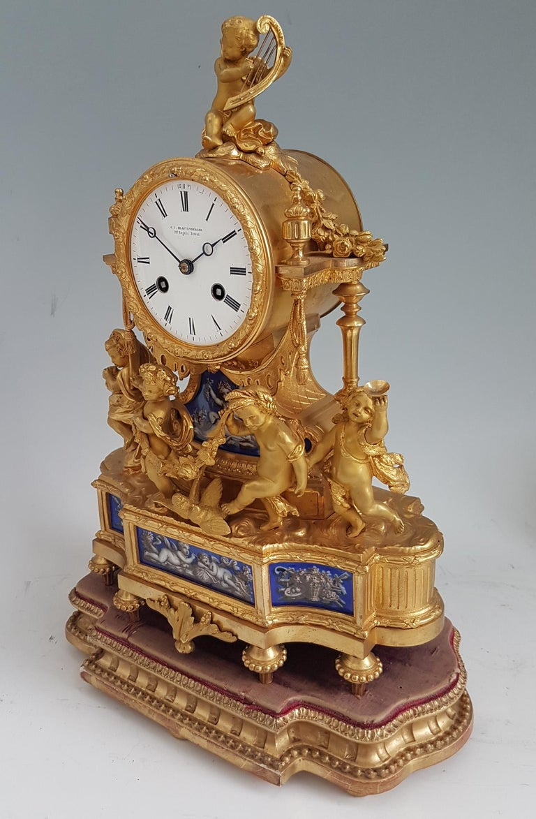 Late 19th Century French Ormolu and Blue Porcelain Four Seasons Mantel Clock For Sale
