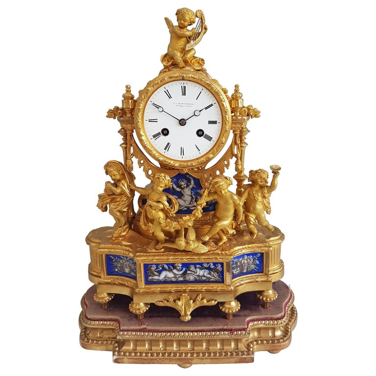 French Ormolu and Blue Porcelain Four Seasons Mantel Clock For Sale