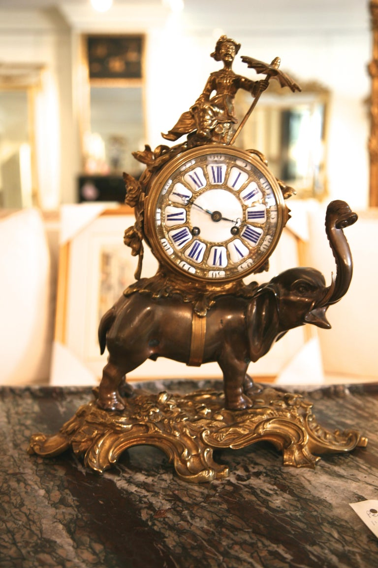 19th Century French Ormolu and Bronze Elephant Chinoiserie Clock For Sale
